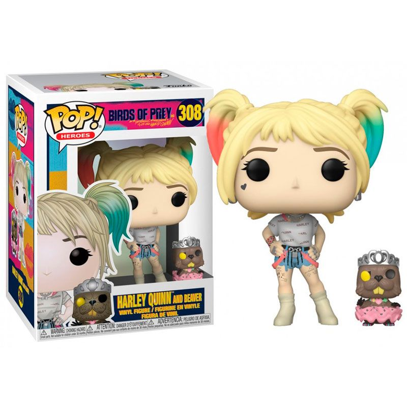 funko-pop-harley-quinn-con-beaver-and-beaver-birds-of-prey-308-dc-comics